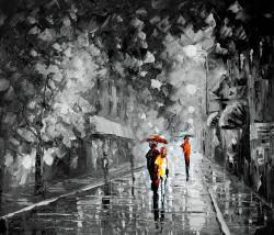 couple, couple taking walk, rain, rainy painting, landscape, cityscape, romantic,walk in the rain