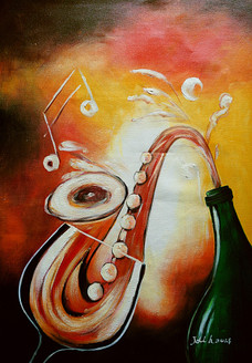 music, musical instrument, wine, wine bottle ,musical instrument pianting, saxophone, musical notes
