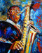 man, man painting, man playing music pianting, music, musical instrumnet, saxophone, man playing saxophone, music and dance