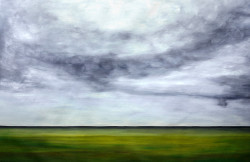 absatract, abstract painting, clouds, green, green land