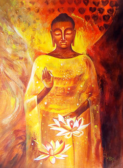 Buddha,Yellow Buddha,Meditation,Red,Pink Background,Standing Buddha