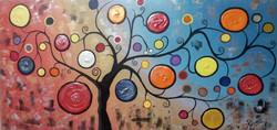tree, tree paintig, multi color tree painting, textured tree, texture
