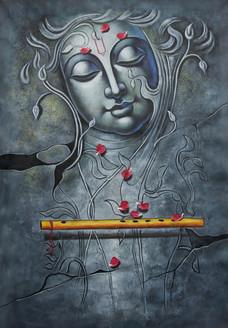 Krishna with Basuri - Handpainted Art Painting - 24in X 36in