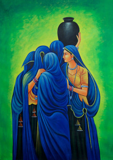 Rajasthani Women - Handpainted Art Painting - 24in X 36in