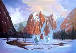 Moutain,Snow Motain,three Horses,Moutain Horse,Race