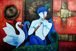 krishna, lord krishna, peacock, krishna with birds, swan, lord krishna with swan, flute, krishna with flute