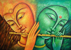 Krishna, lord krishna,krishna with flute, abstract  krishna, radha krishna, radha with krishna