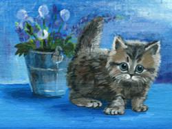 cat, kitten, small cat, black cat, black kitten, vase , flower vase