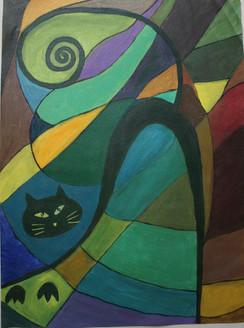 abstract cat, cat, geometric cat