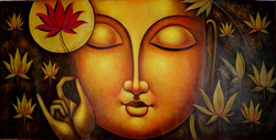 Buddha with Lotus - 48in X 24in,RAJMER07_4824,Acrylic Colors,Buddha,Peace,Meditation - Buy Paintings online in India