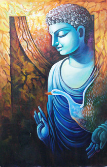 Blue Buddha - 24in X 36in,RAJMER11_2436,Acrylic Colors,Buddha,Peace,Meditation - Buy Paintings online in India