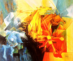 Horse, horses, two horses, abstract horses, multi color abstract horses, running horse, galloping horse