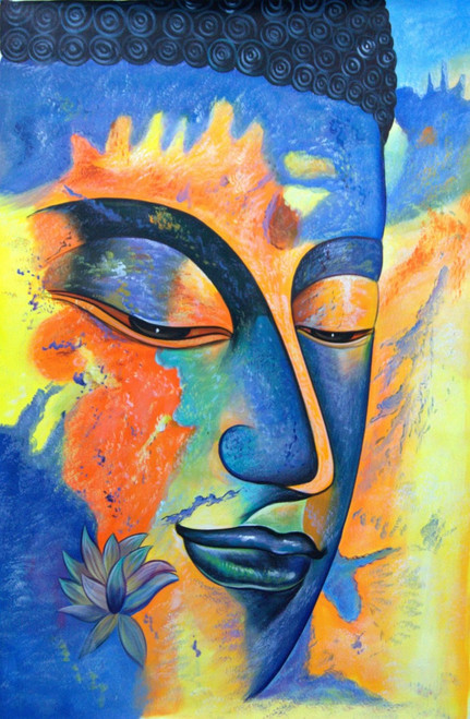 Buy buddha paintings online in india with affordable price buddha with yellow shades 24in x 36inrajmer142436acrylic colorsbuddha sciox Image collections