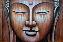 Hidden Buddha - 36in X 24in,RAJMER15_3624,Acrylic Colors,Buddha,Peace,Meditation - Buy Paintings online in India