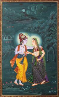radh krishna, krishna painting, radha krishna, radha with krishna , radha krishna at night, full moon night