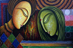 Romance01 - 36in X 24in,RAJMER23_3624,Acrylic Colors,Lovers,Love,Couple - Buy Paintings online in India