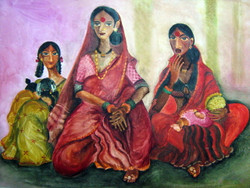 The Gossip - Handpainted Art Painting - 34in X 24in