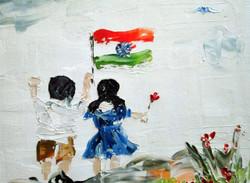 little girl girl , boy, lady, replublic days, school, children, indian flag, india