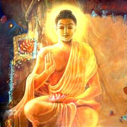 Buddha, orange  buddha, gautam buddha, buddha in orange, smiling buddha, buddha with lotus