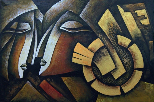 Romance10 - 36in X 24in,RAJMER32_3624,Acrylic Colors,Lovers,Love,Couple - Buy Paintings online in India