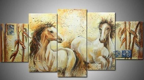 Good Luck Horses - 70in x 32in (Details Inside) - Painting