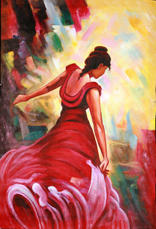My Red Gown - Handpainted Art Painting - 24in X 35in