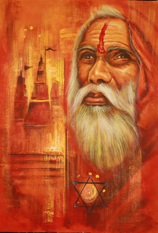 Saddhu - Handpainted Art Painting - 24in X 35in