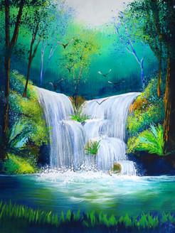 waterfall, forest, waterfall in forest, small waterfall, landscape, birds, birds near waterfall
