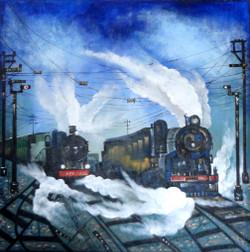 landscape, train, blue train, train on tracks, railway