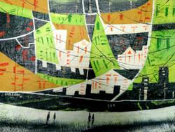 cityscape, landscape,abstract landscape, green landscape, yellow landscape