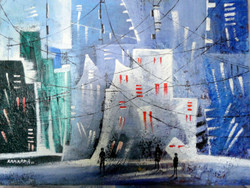 cityscape, landscape,abstract landscape, blue landscape,