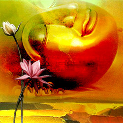 Buddha Horizontal - Handpainted Art Painting - 32in X 32in