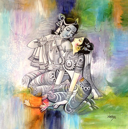 Radha Krishna,Love,Couple,Flute playing