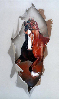 Brown Horse - Handpainted Art Painting - 24in X 40in