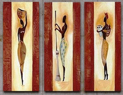 Tribal Flow 5 - 12in x 32in x 3pcs.,RTCSC_21_3632,Tribal Life,Tribal People group,Museum Quality - 100% Handpainted Buy Painting Online in India.