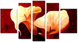 Floral Union - 54in x 32in (Details Inside),RTCSC_23_5432,Beauty Of Floral ,Beautiful Flowers,Multi piece,Museum Quality - 100% Handpainted Buy Painting Online in India.