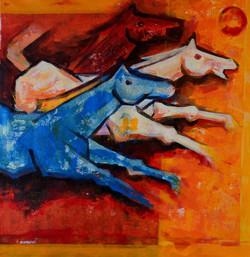 horse,horses, two horses, abstract horses