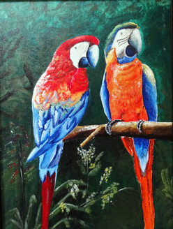 Parrots - Handpainted Art Painting - 13in X 17in (Border Framed)