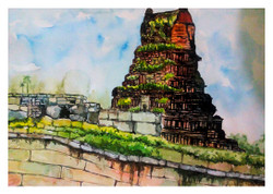 Hampi - Handpainted Art Painting - 14in X 12in