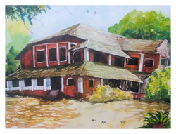 Indian Traditional Home - Handpainted Art Painting - 14in X 12in
