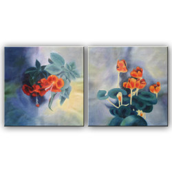 Blossom Pair 02 - Handpainted Art Painting - 40in X 20in