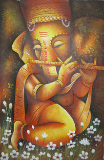 Lord Ganapati 05 - 24in X 36in,RAJVEN04_2436,Acrylic Colors,God,Ganesha,Vakratunda,Vinayak,Bappa,Jai Ganesh ji,Ganesha with Basari  - Buy Paintings online in India