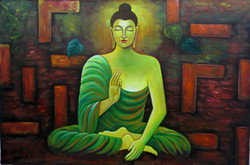 Mahanirvana 11 - 36in X 24in,RAJVEN14_3624,Acrylic Colors,Peace,Buddha,Shanti,Meditation,Buddhism - Buy Paintings online in India
