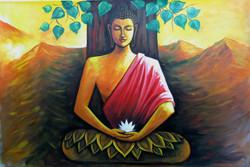 Mahanirvana 12 - 36in X 24in,RAJVEN15_3624,Acrylic Colors,Peace,Buddha,Shanti,Meditation,Buddhism - Buy Paintings online in India