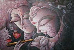 Lord Krishna 03 - 36in X 24in,RAJVEN18_3624,Acrylic Colors,Krishna with Radha,Bal Gopala,Shyam ,Murlidhar - Buy Paintings online in India