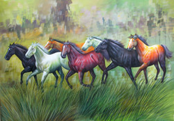 7 Good Luck Horses Rajmer04 - 36in X 24in,RAJVEN26_3624,Acrylic Colors,Horses,Graces,Race,Achiever,Racing - Buy Paintings online in India
