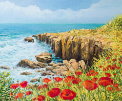 flower, blossom, red flower, petsla, red petals, red blossom, seascape, sea, beach, flowers on the beach