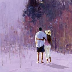 lady, girl, woman,woman in black, lady in white, white dress,couple, couple walking, romance, romantic,love