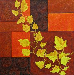 Drifting Beauty - 24in X 24in,RAJEAR02_2424,Acrylic Colors,Flower,Leaf,Branches Beauty - Buy Paintings online in India