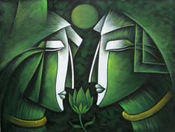 Together As One - 24in X 18in,RAJEAR09_2418,Acrylic Colors,LOve,Couple,Romance - Buy Paintings online in India